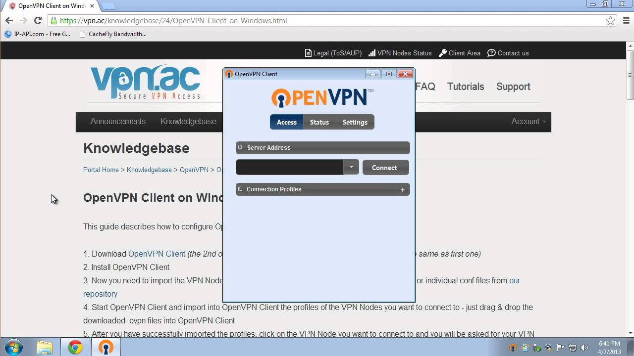 OpenVPN Client on Windows 7
