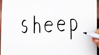 How To Draw A Sheep Using The Word Sheep - Drawing doodle art on paper