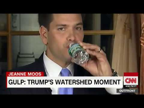 Trump sips water during speech like Rubio