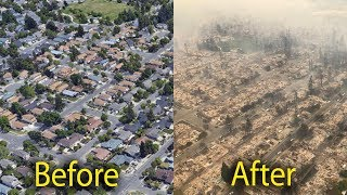 Santa Rosa fires , before and after, wildfires now and then, forest fire damage California