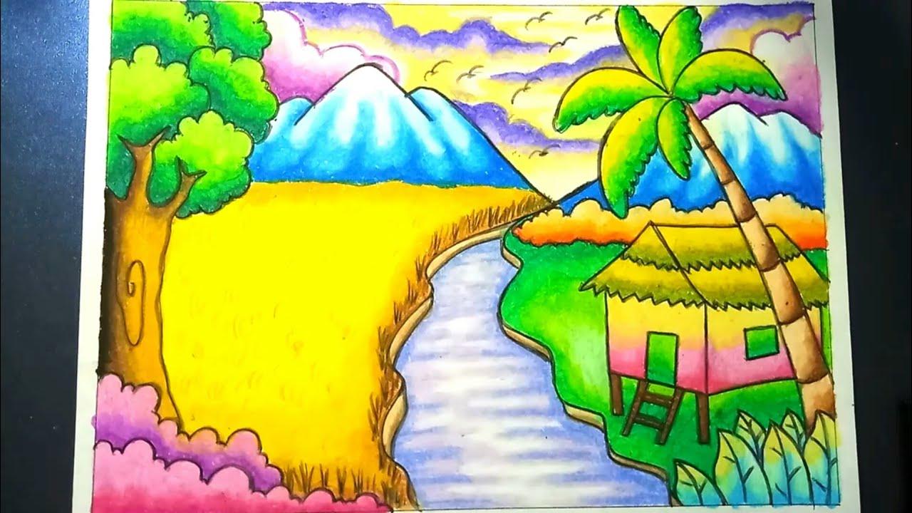 Menggambar Dan Mewarnai Pemandangan Alam Sawah Dan Gunung Dengan Gradasi Crayon Drawing Scenery