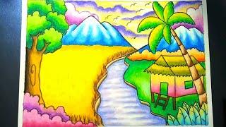 Gambar Pemandangan Crayon Pegunungan Gambar Pemandangan