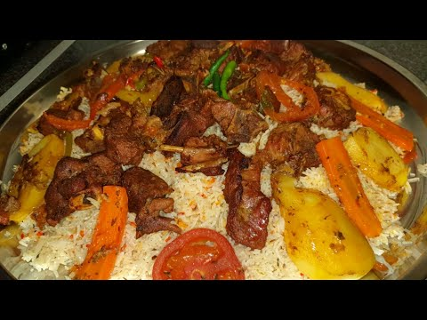 Somali Rice With Roasted Meat And Vegetables | Somali Food