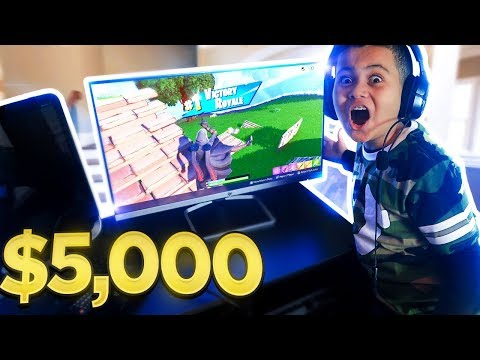 *SURPRISING* MY LITTLE BROTHER WITH AN INSANE GAMING SETUP!!! (EPIC REACTION!!) - FORTNITE