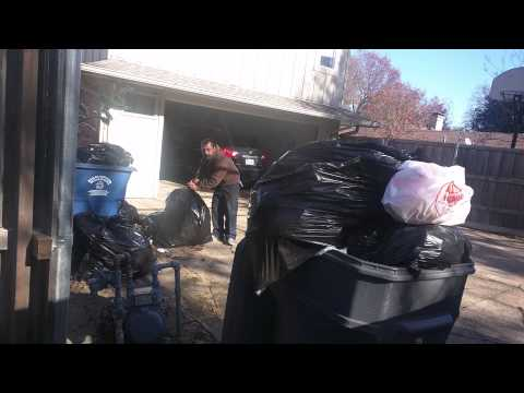 Trash bag pickup in Dallas Texas , Highland Park