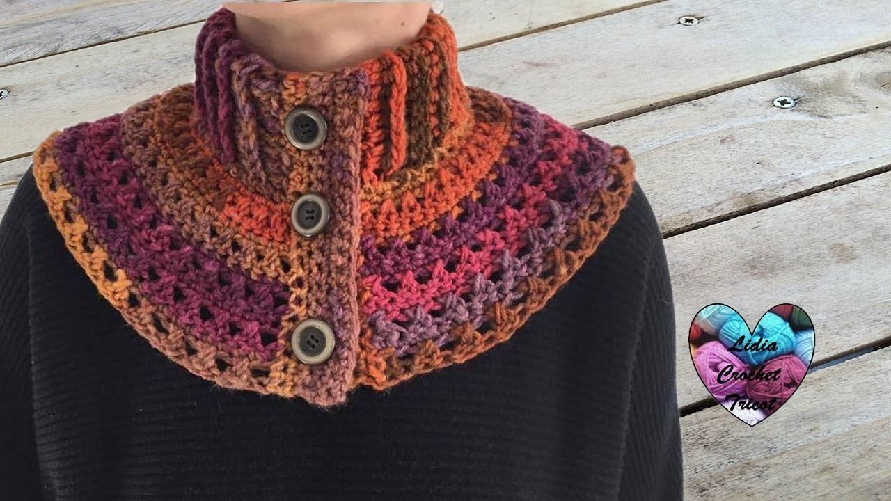 Chauffe épaules femme crochet facile   Neckwarmer collar crochet (english  subtitles) - YouTube f4dfa63dcd7
