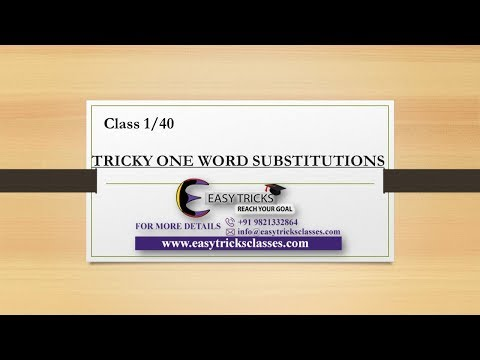 SSC and BANK One Word Substitution: Class 1