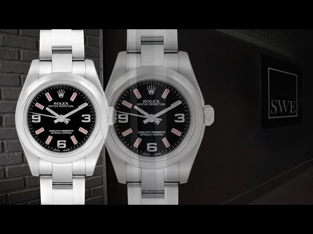 Rolex Oyster Perpetual Nondate Black Dial Pink Hour Markers Ladies Watch 176200 | SwissWatchExpo