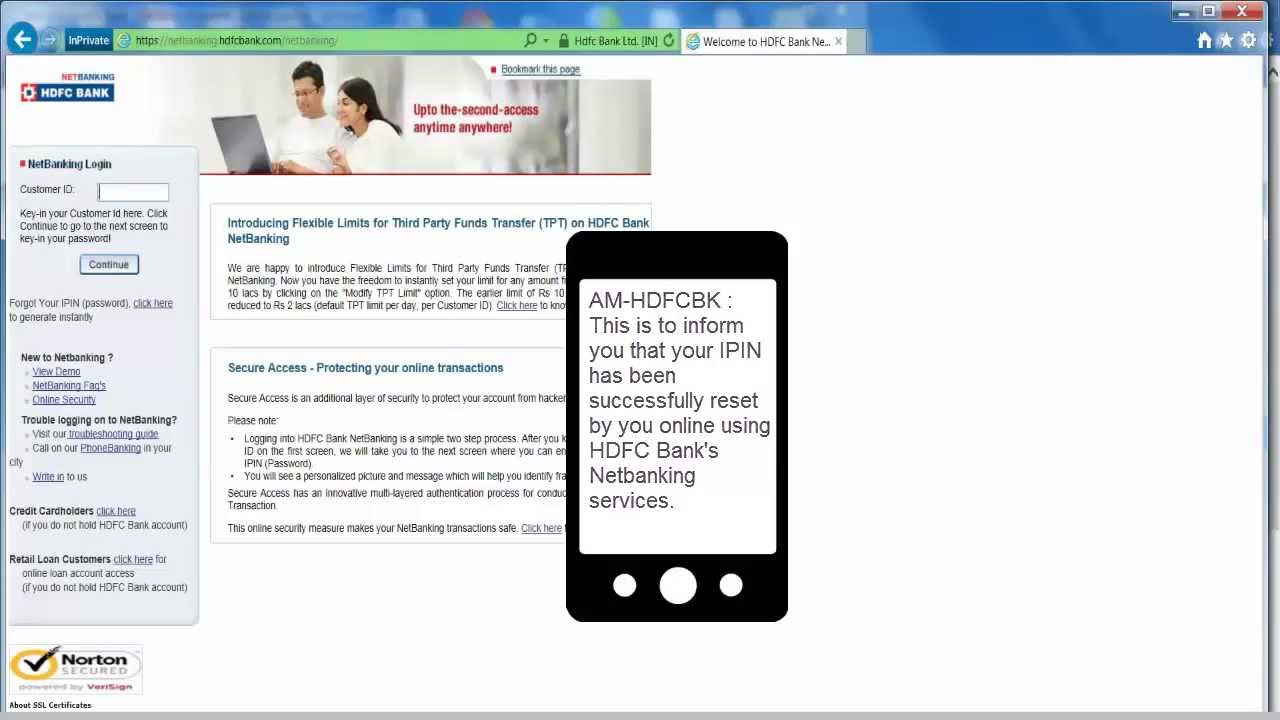 In How To Reset Hdfc Netbanking Password Youtube