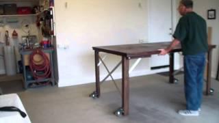 Foldup fold down work table detachable moveable