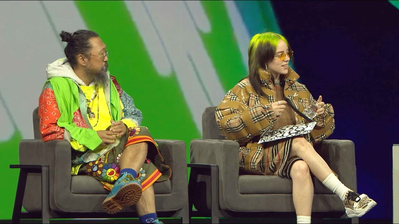 Billie Eilish and Takashi Murakami onstage
