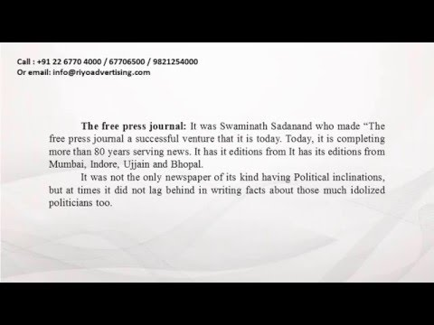 The Free Press Journal Newspaper   advertise rate cards   ad agency. Call Us 9821254000.