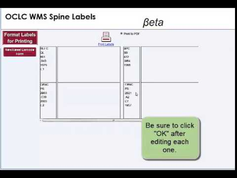 Print Call Number Labels with the OCLC Collection Management API