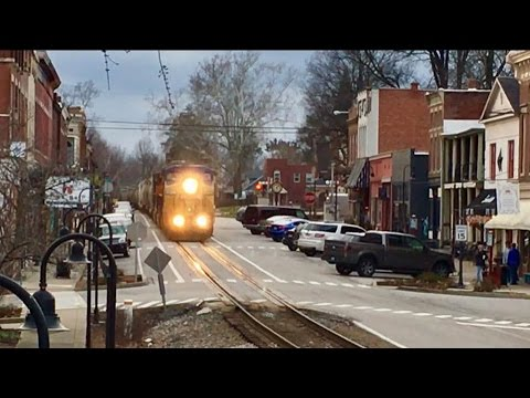 CSX Street Running!  Trains Running Down The Middle Of The Street!  Dangerous Railroad!