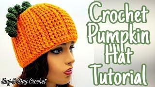 How To Crochet a Pumpkin Beanie Hat - Bagoday Crochet Tutorial #638