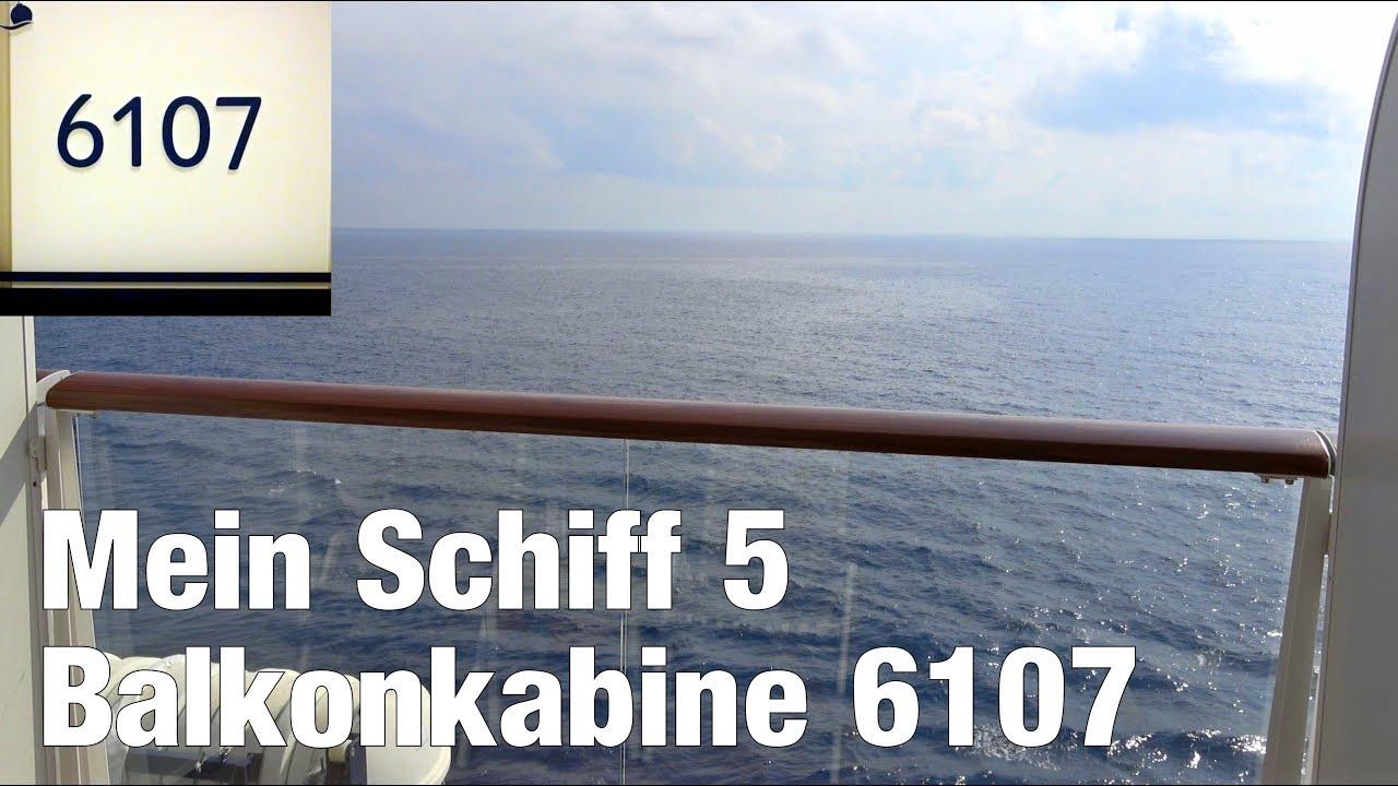 Mein Schiff 5: Balkonkabine 6107 | Rundgang und Blick vom Balkon | 4K
