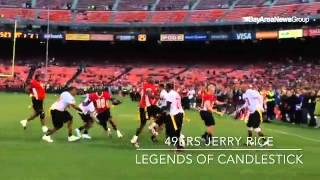 Former  #49ers  wide receiver Jerry Rice  scores in The Legends of #Candlestick game #mercnews