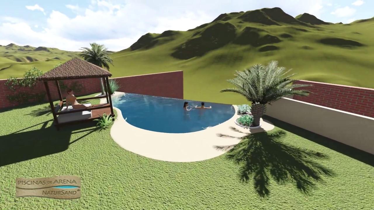 Proyecto 3d para la construcci n una piscina de arena for Piscina infinita construccion