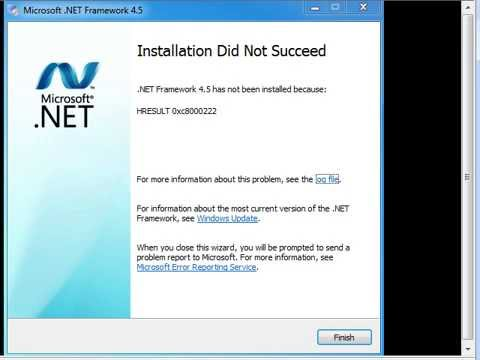 "Windows 7 Can Not Install.Net Framework 4.x error message ""HRESULT 0x8000222"""