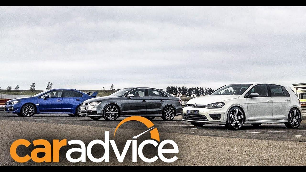 Audi S3 v Subaru WRX STI v Volkswagen Golf R: $60K all ...