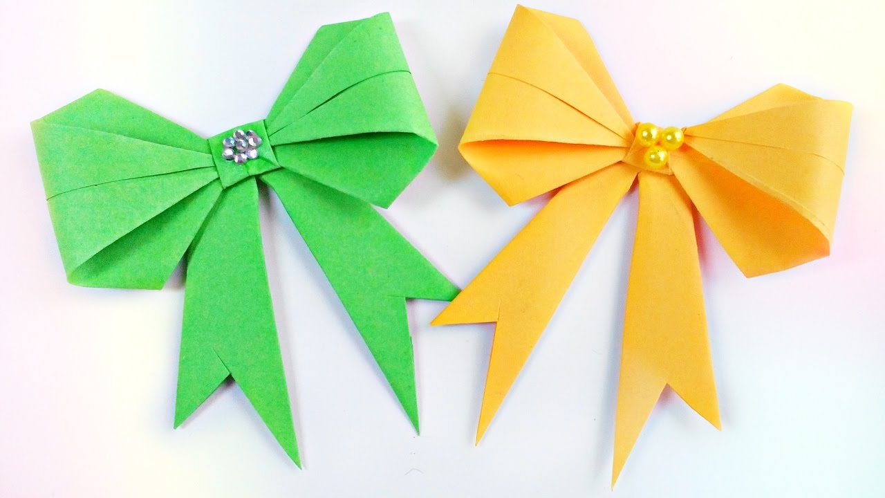 How To Make Origami Bow Diy 3d Paper Easy Tutorial Step By For Kidsfor Beginners