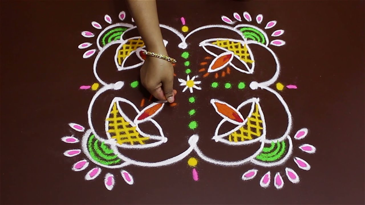 Rangoli Art | 4 x 4 Dots | Easy Rangoli Designs with Kolam by Sunitha #805 #1