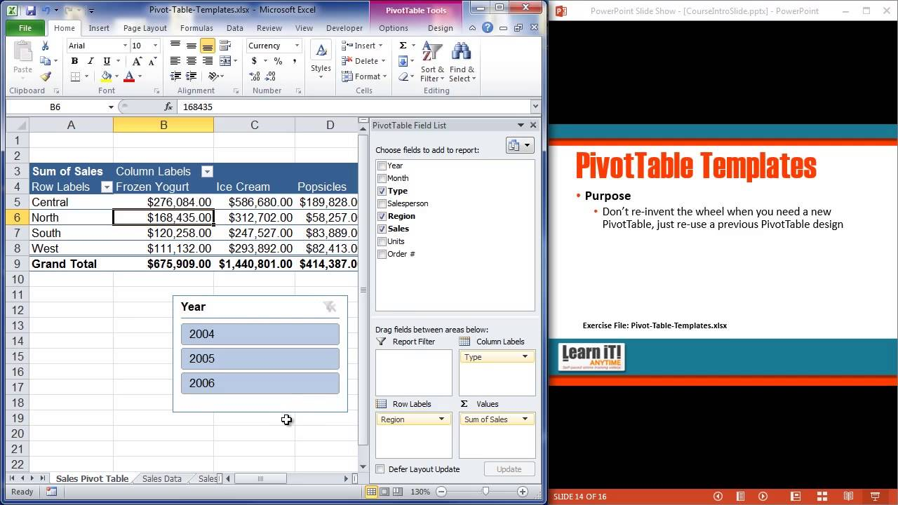 pivottable templates in excel 2010 youtube