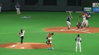 180603 女子カーリングチーム 北海道銀行フォルティウス  近江谷杏菜さんによる始球式