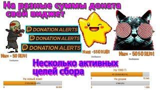 Настройка нескольких виджетов на разные суммы доната в donationalerts