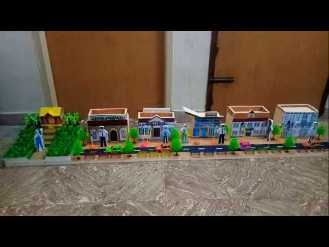 School Project - People Who Help Us Police Station Hospital Bus Stand Model
