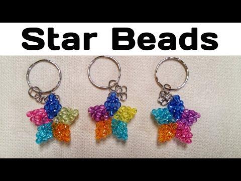 Membuat_souvenir_sendiri#Gantungan_kunci_bintang#manik - manik,star beads keychain,mote,akrilik,llav.