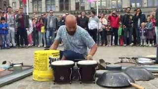 Repeat youtube video Incredible drummer in Amsterdam © #trash  rave techno Dario Rossi Drummer