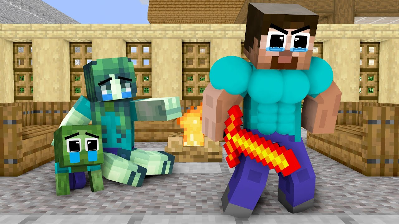 Monster School : Father Herobrine Assassin  and Brave Baby Zombie - Sad Story - Minecraft Animation