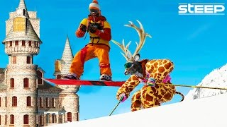 STEEP: SECRET HIDDEN CASTLE LOCATION & UNBEATABLE CHALLENGES - STEEP FUNNY MOMENTS & FAILS