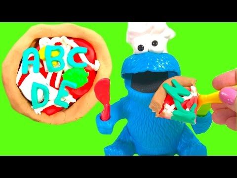 Letters &   - Cookie Monster Eats an Alphabet Play Doh Pizza
