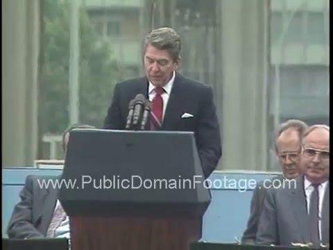 President Ronald Reagan speech at the Brandenburg Gate Berlin Wall on June 12, 1987 archival footage
