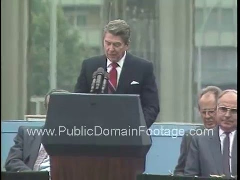 President Ronald Reagan speech at the Brandenburg Gate Berlin Wall ...
