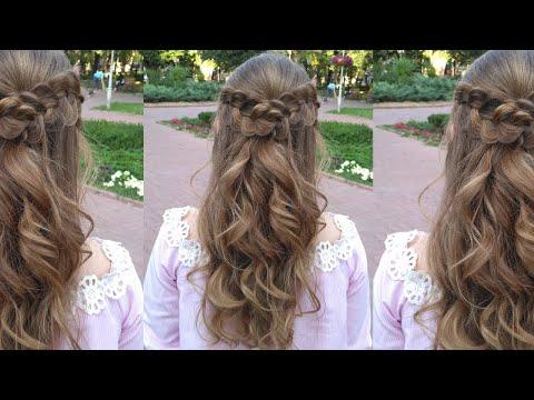 """Прическа с плетением на распущенные волосы - """"Мальвинка"""" из кос и локоны"""