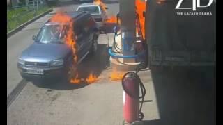 Водитель ГАЗели достал зажигалку и устроил пожар на АЗС