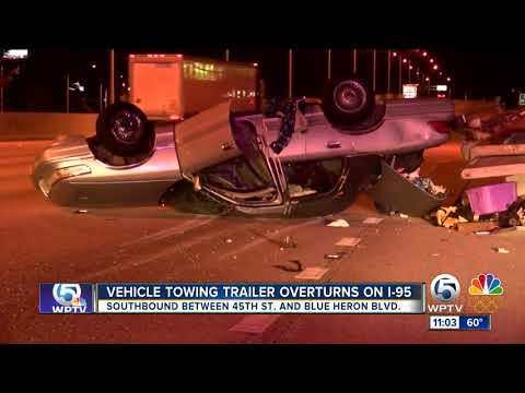 Car towing adult DVDs crashed on I-95 in West Palm Beach