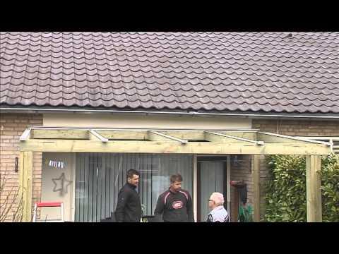 Opbouwvideo van een houten veranda van Theunissen tuinhuisjes