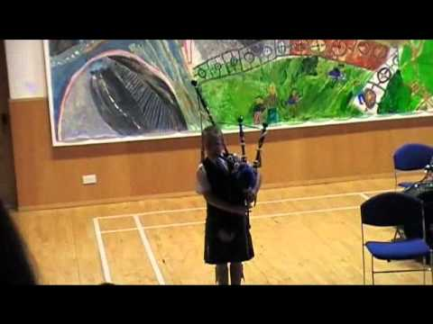 10 year old Lewis playing the bagpipes at Sabhal Mor Ostaig