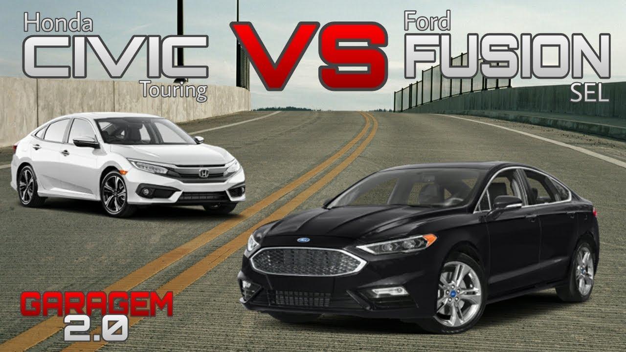 comparativo honda civic touring vs ford fusion sel
