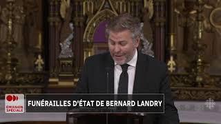 Allocution de Pascal Bérubé aux funérailles d'État de Bernard Landry