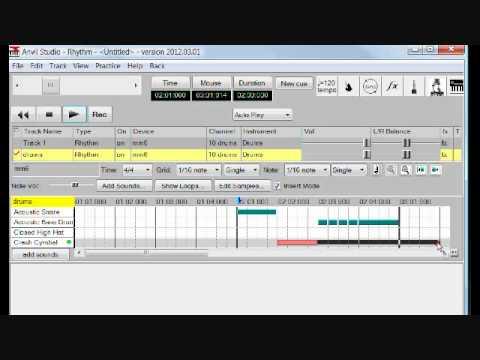 Anvil Studio Tutorial 1 - how to make a simple rhythm track
