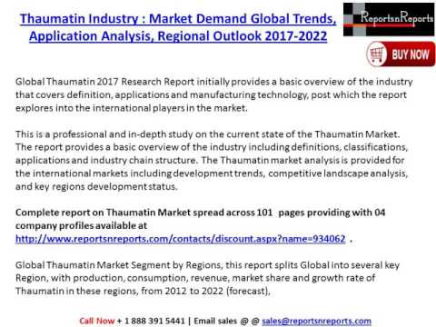 Thaumatin Market Industry: Global Market Size, Growth, Trends and 2022 Forecast Report