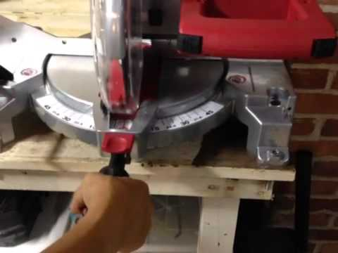 chop saw in use. how to use a skil saw compound miter - cutting the wood! chop in