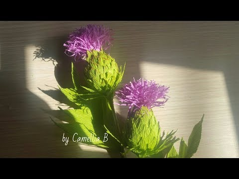 Paper thistle flowers from crepe paper - DIY step by step tutorial paper flower making