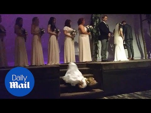 Flower fail: Squirming flower girl falls down stairs at wedding - Daily Mail