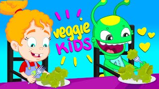 VEGGIE KIDS! Groovy The Martian TEACH KIDS to EAT VEGETABLES! Cartoon for kids & Nursery Rhymes